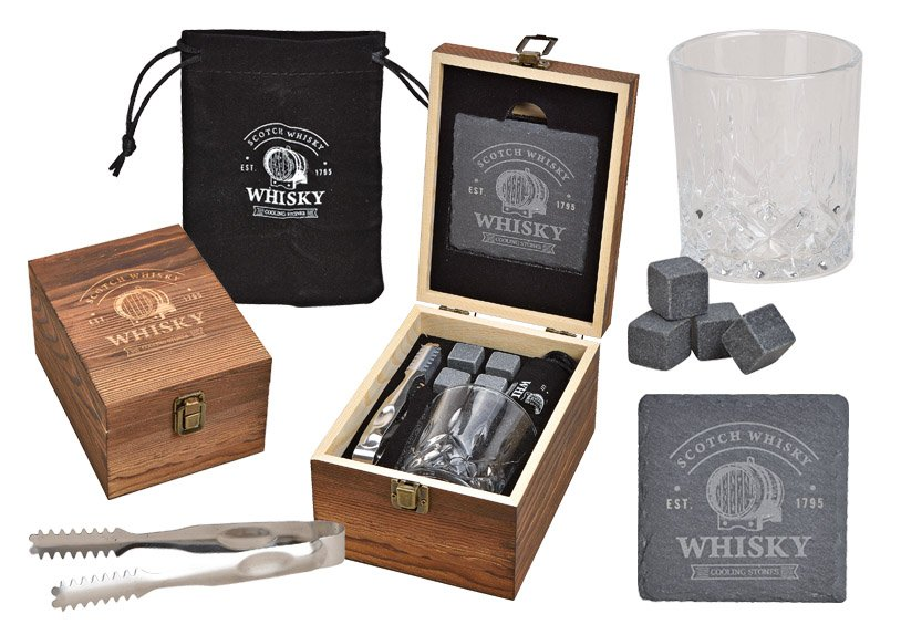 Whisky Set, Eiswürfel aus Basalt Stein 2x2x2cm, 1 Glas 9x8x9cm, 300ml, 1 Zange , aus Glas Transparent 8er Set, (B/H/T) 14x20x11cm