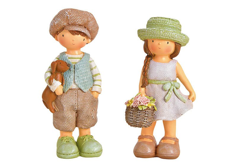 Figur Mädchen/Junge aus Poly Bunt 2-fach, (B/H/T) 7x17x6cm