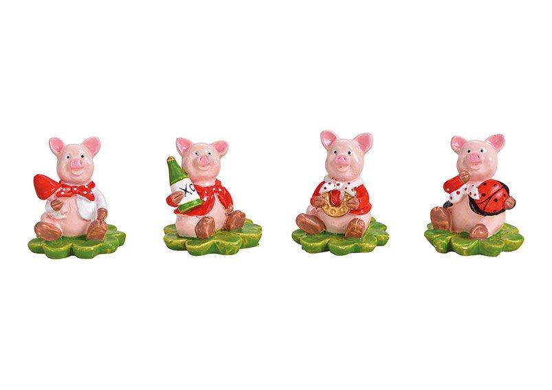 Glücksschwein auf Kleeblatt aus Poly Bunt 4-fach, (B/H/T) 3x3x3cm