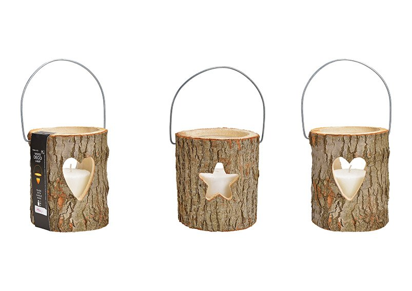 Lanterns, hearts, star decor, with glass, candle glass 13x17cm, candle 8.8x8cm made of wood, brown, set of 3, double, (W / H / D) 18x20x18cm