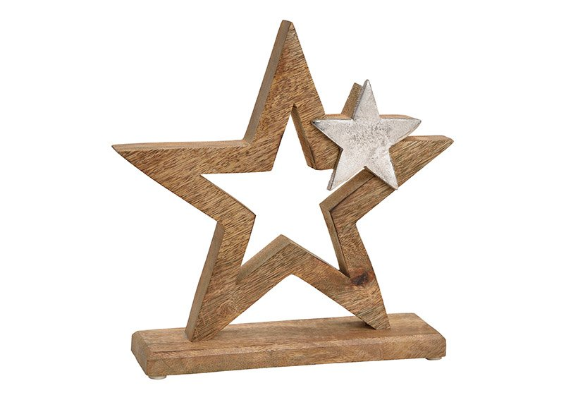 Star with metal star dekor, mango wood, brown, 24x24x6cm