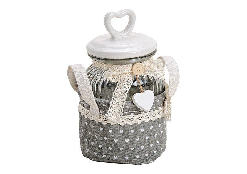 Basket textile set of 2, jar glass with ceramic lid, (W/H/D) 12x21x12cm