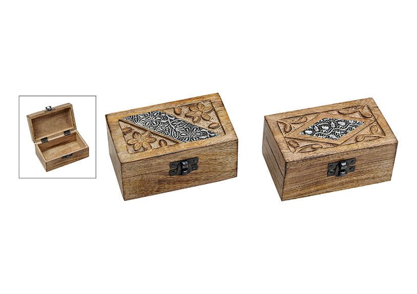 Jewelbox Indi, 2 assorted, wood, (W/H/D) 12x6x7cm
