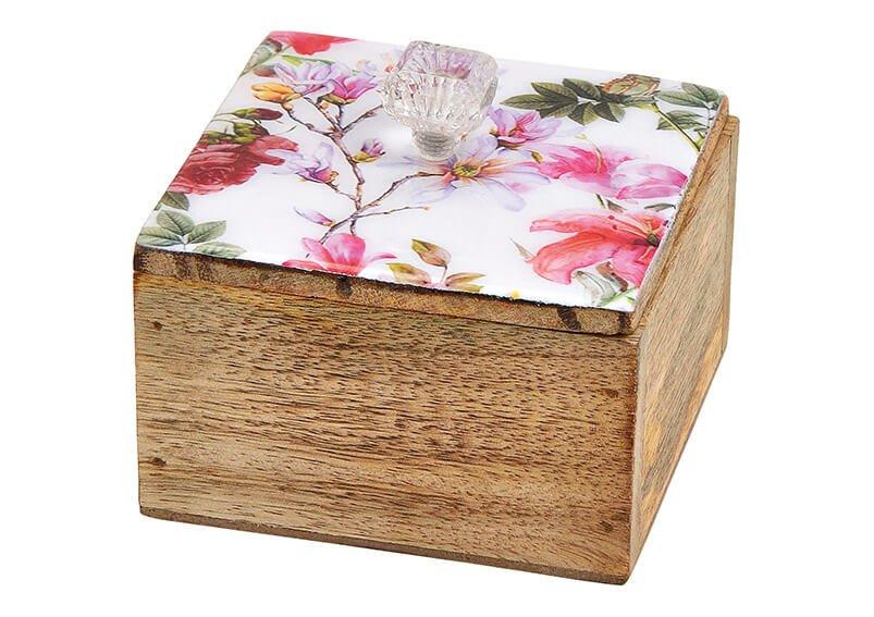 Dose Blumen Dekor aus Mangoholz Bunt (B/H/T) 10x9x10cm
