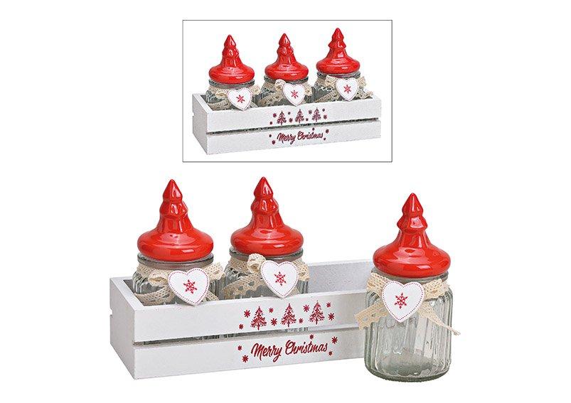 Vorratsdosen-Set im Holzkorb Merry Christmas aus Glas Transparent, mit Keramik Tannenbaum Deckel 4er Set, (B/H/T) 21x12x8cm 150ml
