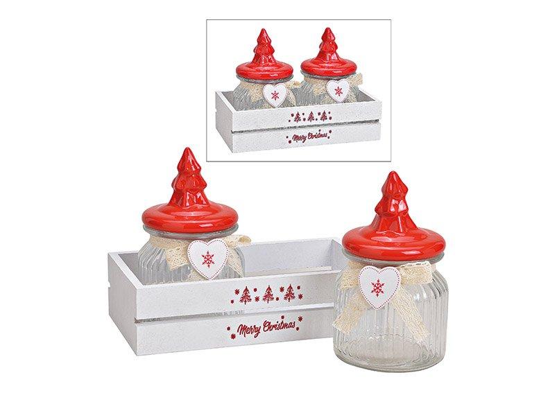 Vorratsdosen-Set im Holzkorb Merry Christmas aus Glas Transparent, mit Keramik Tannenbaum Deckel 3er Set, (B/H/T) 24x18x13cm 300ml