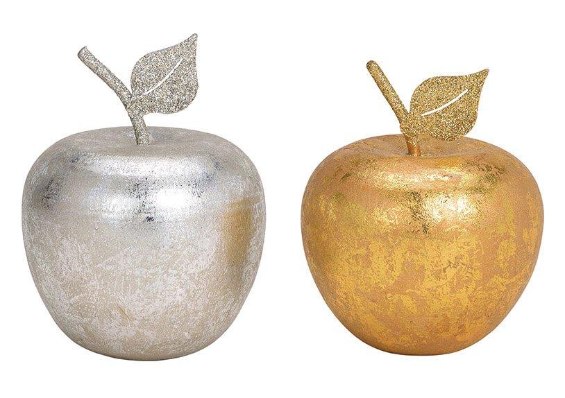 Apfel aus Holz Gold, Silber 2-fach, (B/H/T) 8x10x8cm