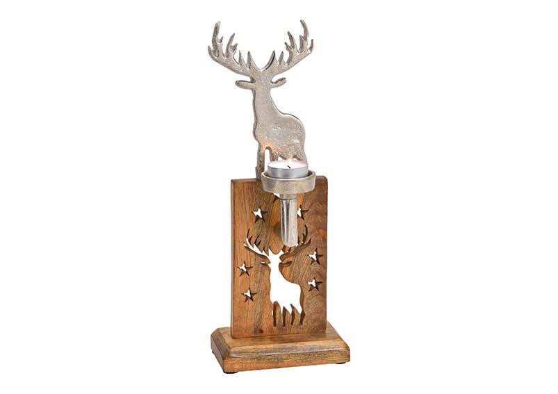 Tealight holder elk metal, mangowood silver/brown 12x33x7cm