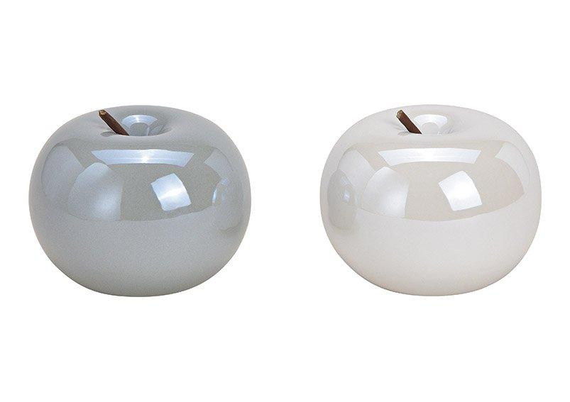 Apfel aus Keramik Weiß, grau 2-fach, (B/H/T) 10x10x10cm