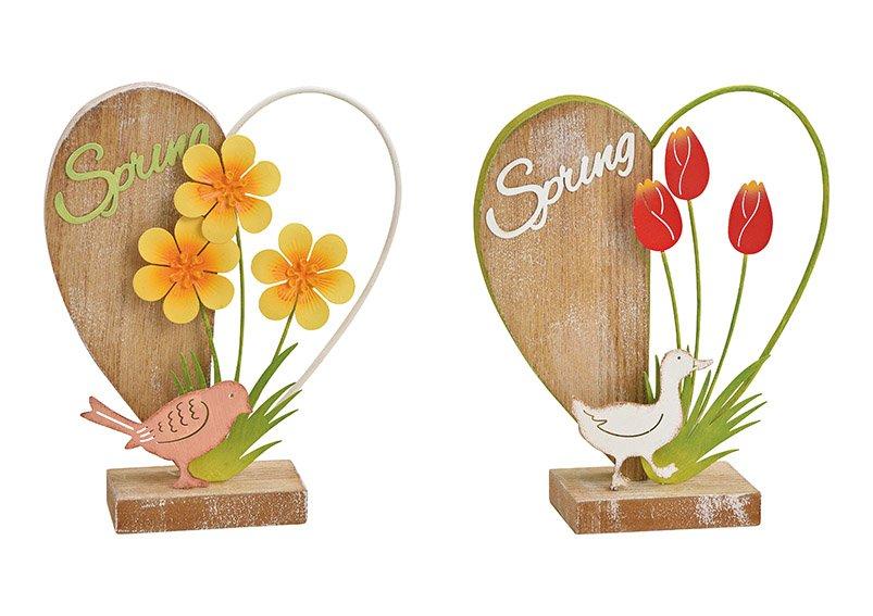 Aufsteller Herz, Spring, mit Ente, Vogel  Dekor aus Metall, Holz Bunt 2-fach, (B/H/T) 16x19x5cm
