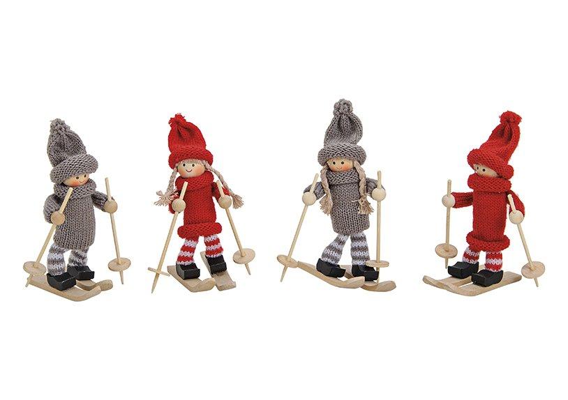 Winter figurines on ski (wood/ text. assorted 11cm
