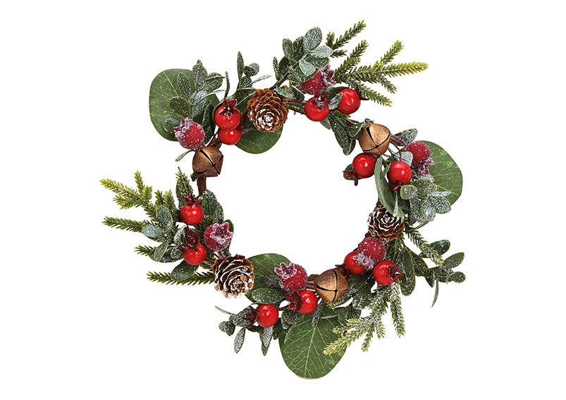 Christmas wreath made of plastic green, red (w / h / d) 22x6x22cm