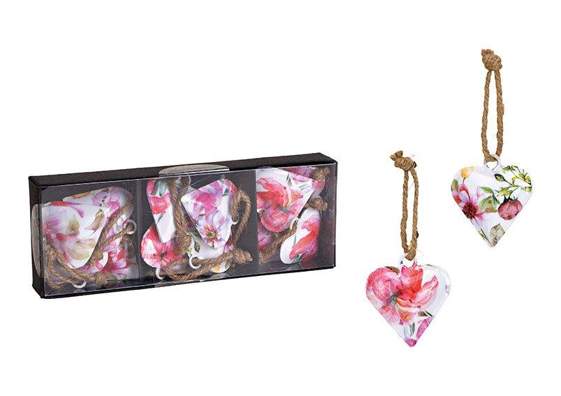 Hänger Herz Blumen Dekor aus Metall Bunt (B/H/T) 5x5x1cm 12 Stk. in Fensterkarton
