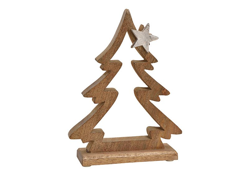 Tree with metal star dekor, mango wood, brown, 21x28x6cm