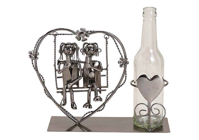 Flaschenhalter für Bierflasche Paar sitzend auf Herzschaukel aus Metall Schwarz (B/H/T) 29x21x9cm