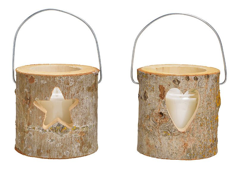 Lanterns, hearts, star decor, with glass, candle glass 6.5x8.3cm, candle 4.5x5cm made of wood brown set of 3, 2-fold, (W / H / D) 12x12x12cm