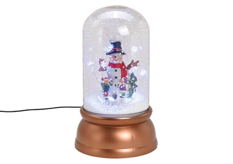 Spieluhr Schneemann mit Licht, Musik Schneewirbel aus Kunststoff Transparent, braun (B/H/T) 18x30x18cm