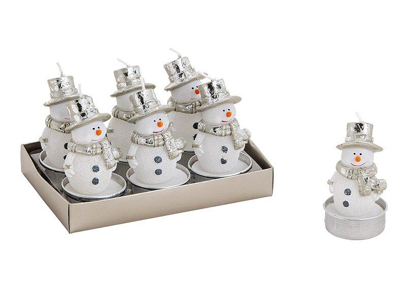 Tealight set snowman white, set of 6, wax, 4cm dia x 5cm (h), (w/h/d) 13x7x9cm