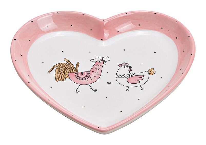 Teller Hahn Huhn Dekor, Herzform aus Keramik Pink/Rosa, gold (B/H/T) 20x3x20cm
