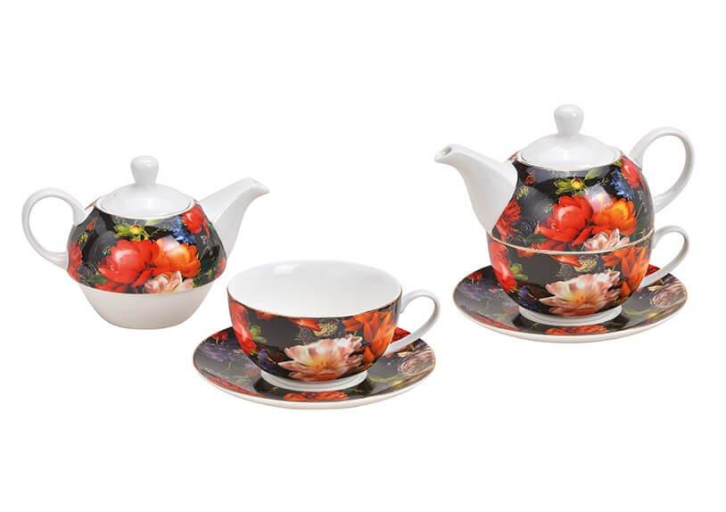 Teekannen-Set Blumendekor aus Porzellan Bunt, gold 3er Set, (B/H/T) 17x15x15cm 400/200ml