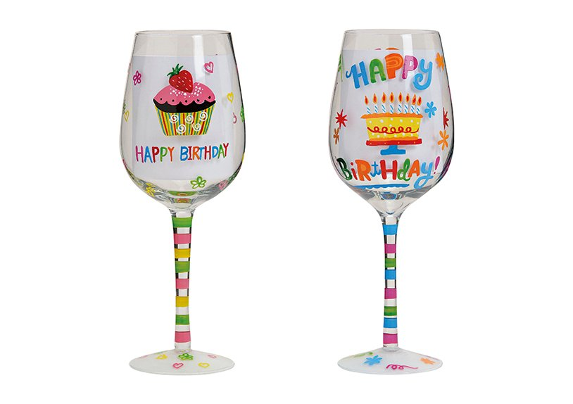 Weinglas Happy Birthday,2-fach sortiert, B22 x T8 cm