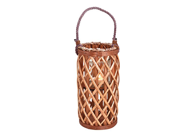 Lantern wickerwork with lantern glass made of natural material cognac (w / h / d) 15x31x15cm