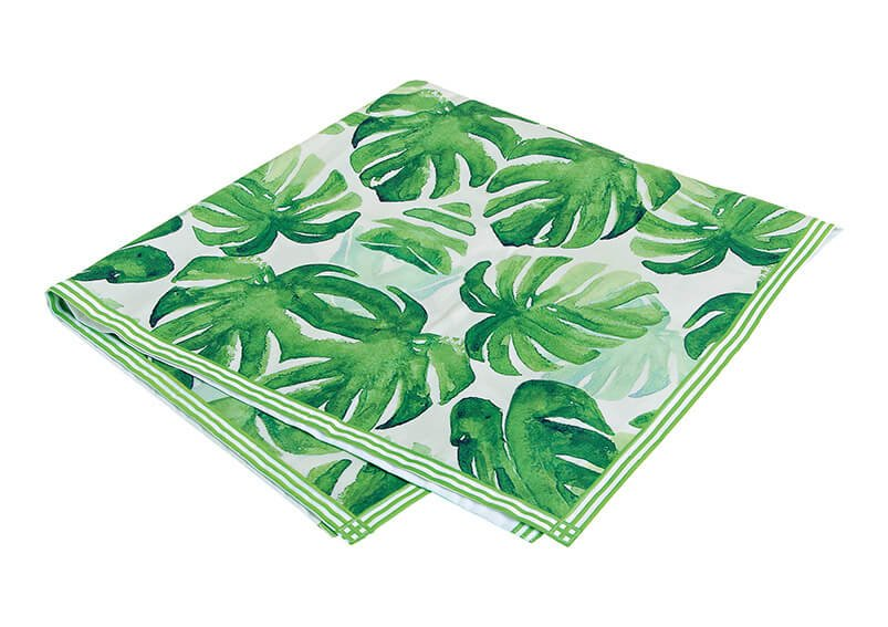 Tablecloth out of textile, tropical leaf design, green (W/T) 90x90cm