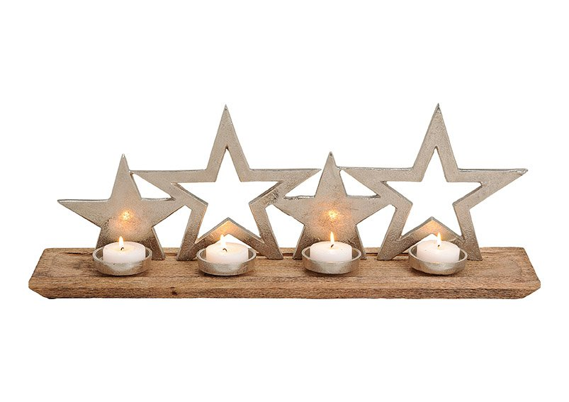 Advents candle holder, star designs, mangowood, metal, brown silver color,   66x27x13cm