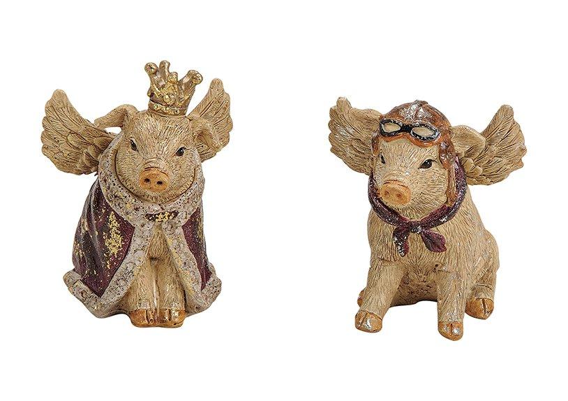 Schwein mit Flügeln aus Poly 2-fach, (B/H/T) 7x7x5cm