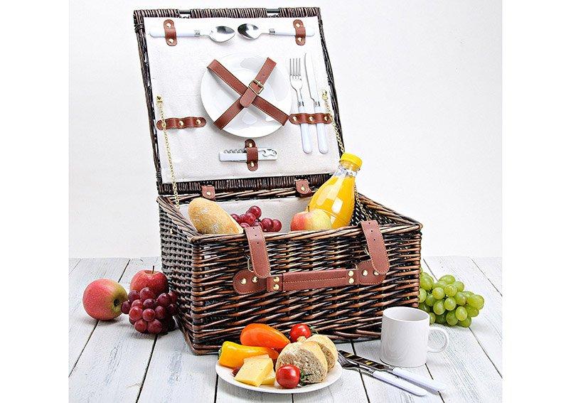 Picknickkorb für 2 Personen aus Weide, 12-teilig, B38 x T38 x H20 cm