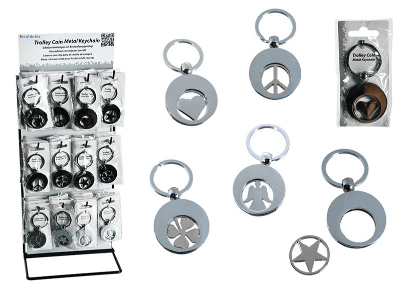 Key ring, with shopping cart token, metal, silver, 5 asst.   3x3cm, 60 pcs on one display