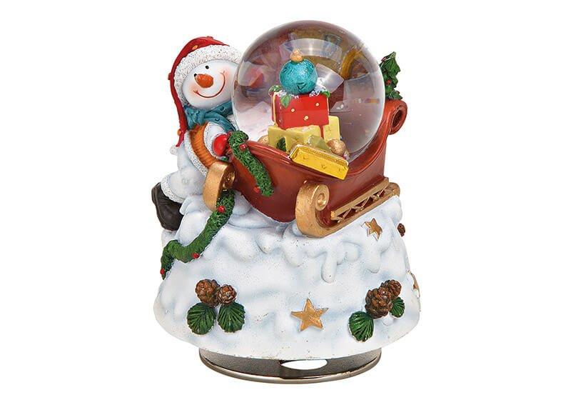 Spieluhr, Schneekugel Schneemann aus Poly, Glas Bunt (B/H/T) 9x11x8cm