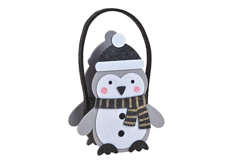Tasche Pinguine aus Filz Grau (B/H/T) 17x22x8cm