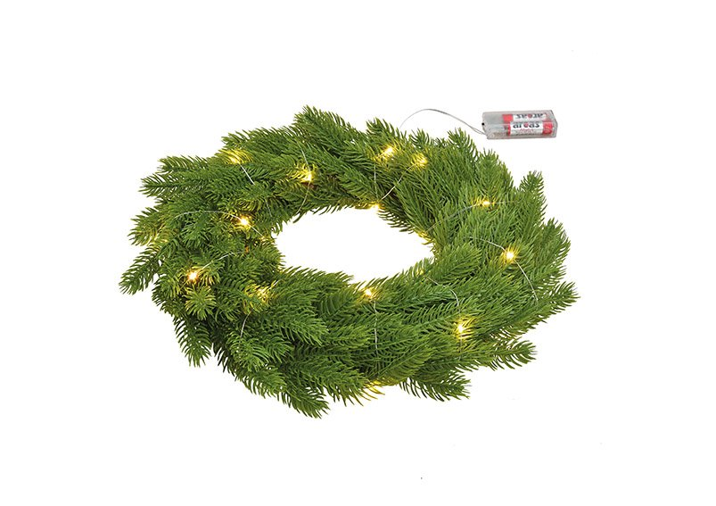 Wreath with led light made of plastic green (w/h/d) 40x40x7cm