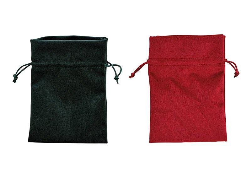 Giftbag, polyester, red, green, 2 asst, 13x18cm