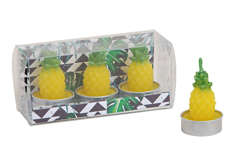 Tealight, set of 3 pcs, pinapple design, yellow(4x5x4cm) (w/h/d) 14x5x7cm