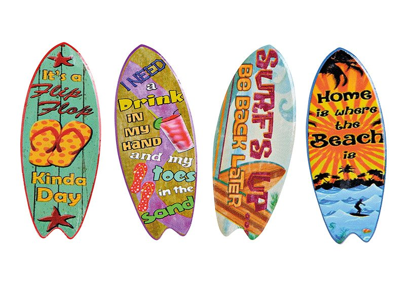 Magnet Surfboard, ceramic, 4 assorted, (W/H) 4x10cm