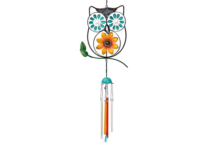 Hanger wind chime owl metal Colorful (W/H/D) 30x100x5cm