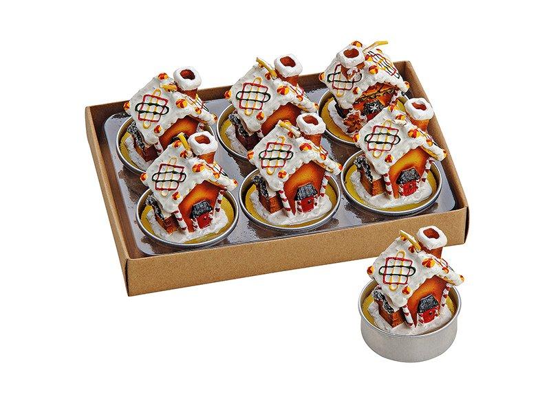 Tealight-set 6part cakehouse 4x5cm