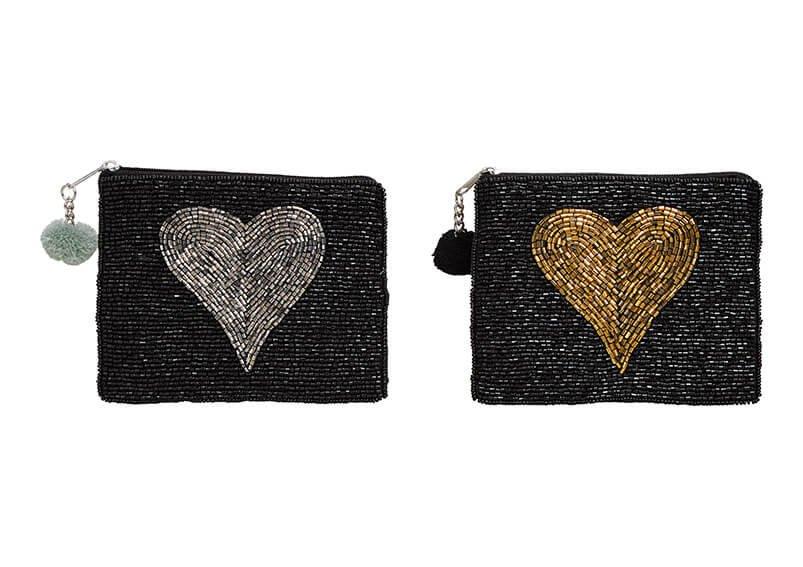 Geldbörse Indien, Glasperlen Herz Dekor aus Textil Schwarz, Herz in gold, silber 2-fach, (B/H/T) 14x11x1cm