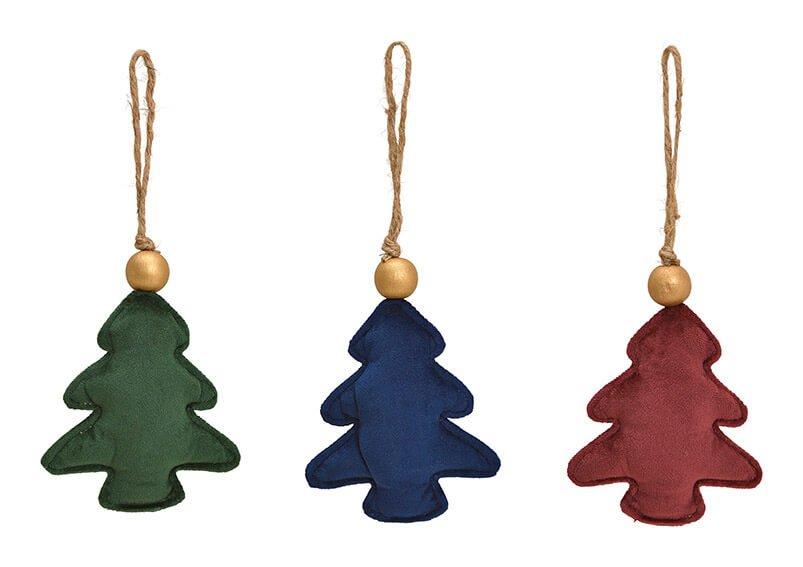 Hänger Tannenbaum  aus Textil Bordeaux, grün, blau 3-fach, (B/H/T) 11x14x4cm