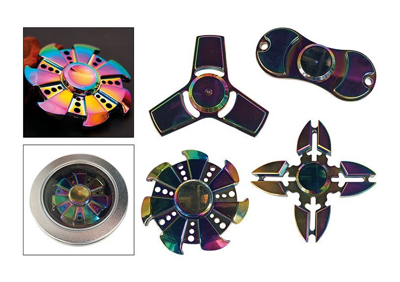 Rainbow metal finger spinner, spings for 3-5 mins, weight 31-38 g,Zinc ally, with cool gery CE mark on 1 position, asst. 4 different styles, standard in inbox, with instruction sheet packing