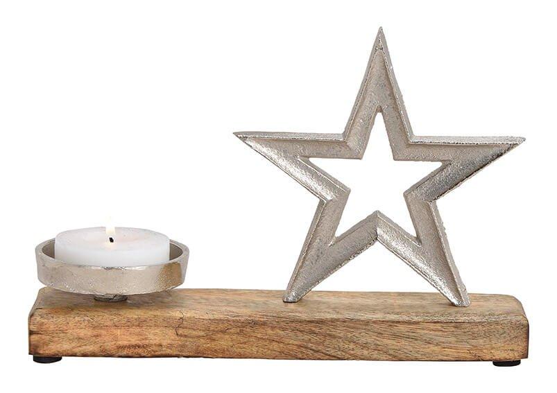 Candle holder, star, metal, mango wood, silver, 26x17x8cm