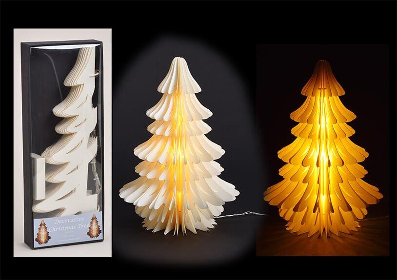 Baum Honeycomb mit Gold Glitter mit Beleuchtung aus Papier/Pappe Weiß (B/H/T) 30x40x40cm