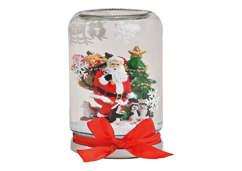 Snowglobe mason jar style santa, 9x13x9cm