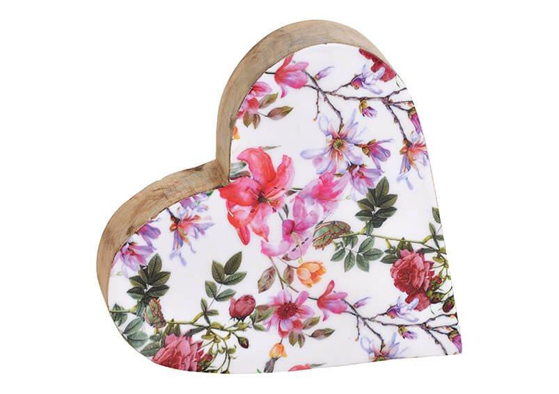 Aufsteller Herz Blumen Dekor aus Mangoholz Bunt (B/H/T) 20x20x4cm
