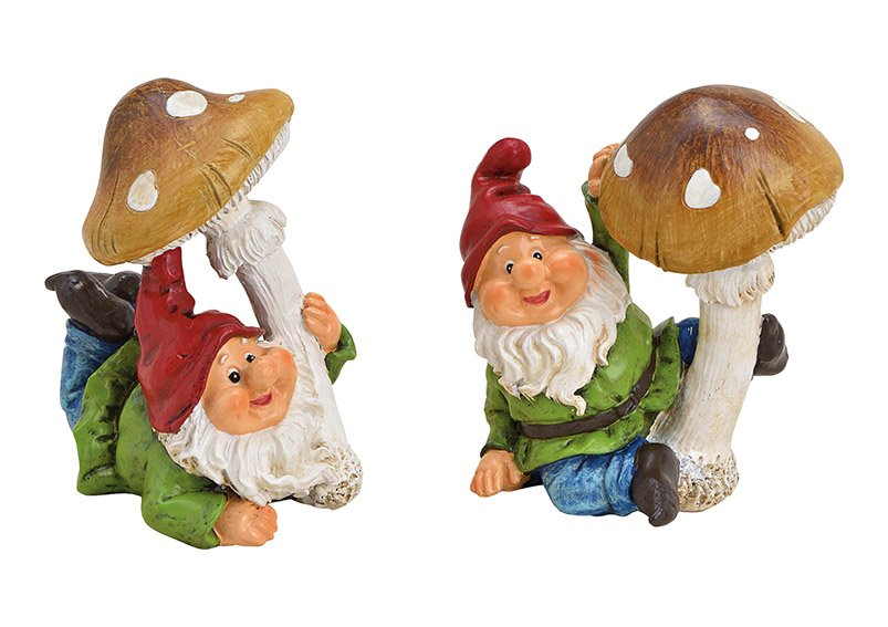 Garden gnomes with mushroom made of poly colorful 2-ass, 10x12x7cm