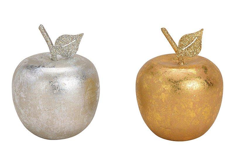 Apfel aus Holz Gold, Silber 2-fach, (B/H/T) 6x8x6cm