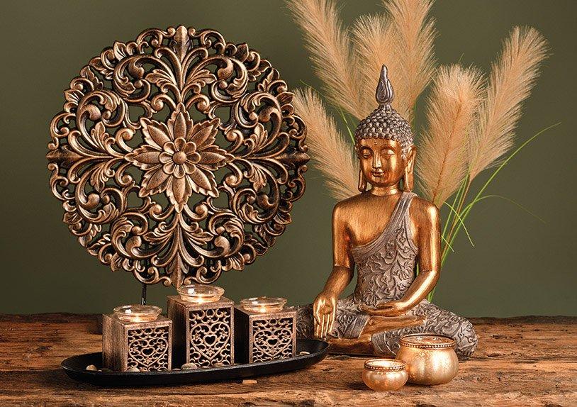 Tealight holder 3-set wood, glass black/gold 5-set 39x13x14cm