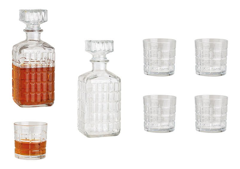 Whisky Set  aus Glas Transparent 5er Set, Flasche 9x23x9cm 980ml, Glas 8x8x8cm, 280ml
